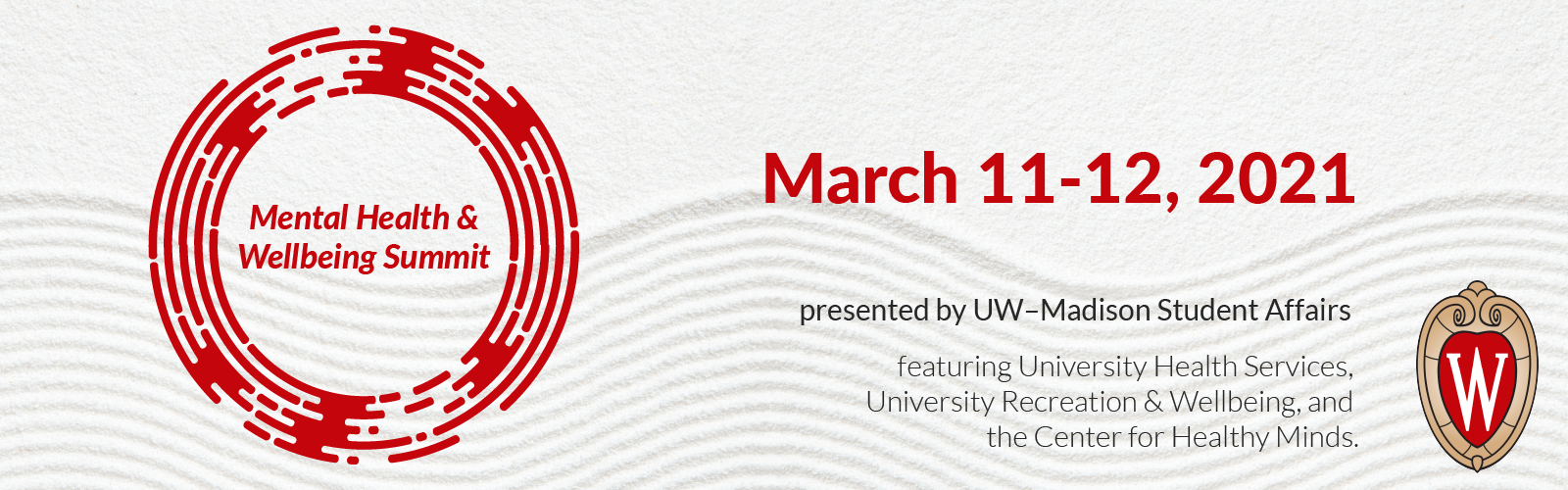 """An image with a red circle around the words """"Mental Health and Wellbeing Summit"""" with the dates March 11-12, 2021"""